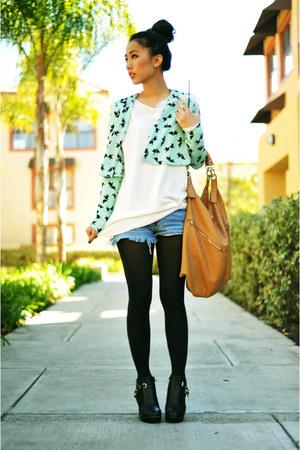 black Ebay shoes - aquamarine cropped H&M jacket