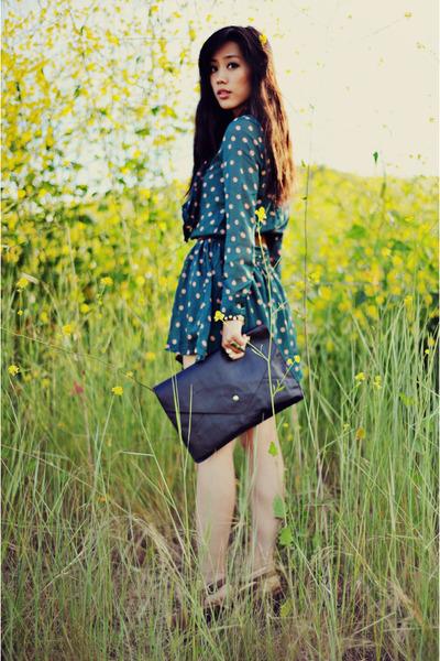 teal silk polkadot VJ Style dress - black clutch VJ Style bag - vintage clogs