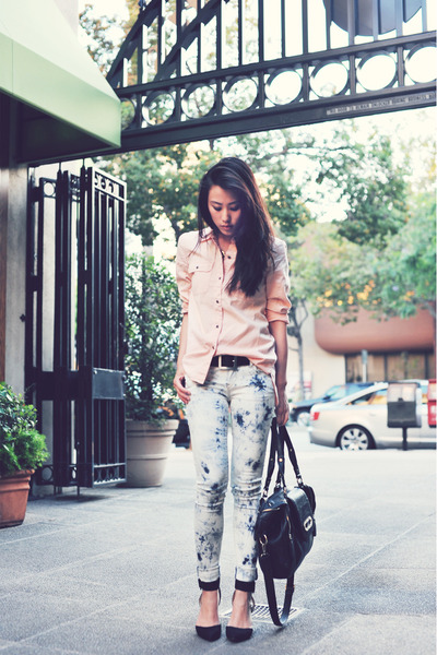 light pink madewell shirt - black Zara shoes