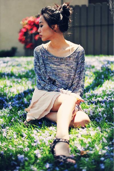 cheetah-print vintage shoes - kensie sweater - light pink VJ Style skirt