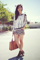 leather Jeffrey Campbell boots - tie-dye knitted Forever 21 sweater - H&M shirt
