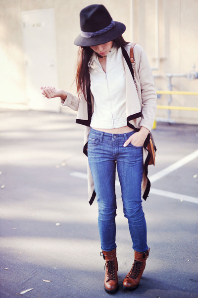 VJ Style cardigan - leatherette romwe boots