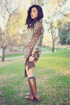 light brown lace Exstaza shorts - dark brown lace-up necessary clothing boots
