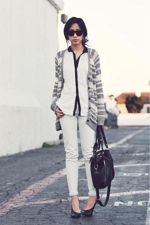 eyelet white Zara top - white skinnies item jeans - melie bianco bag