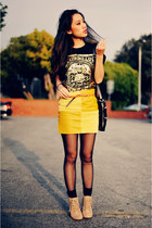 lace-up Forever 21 boots - sheer American Apparel tights - Kmart bag - mustard F
