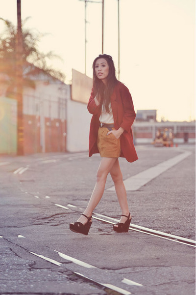 brick red boyfriend wool Chicwish coat - Steve Madden shoes
