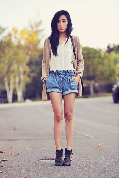 Helmut Lang shorts - Jeffrey Campbell boots - brown crossbody Zara bag