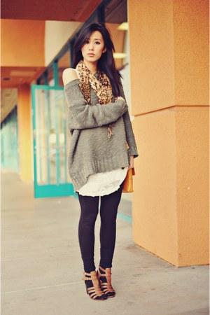 bronze vintage scarf - ivory slip Forever 21 dress