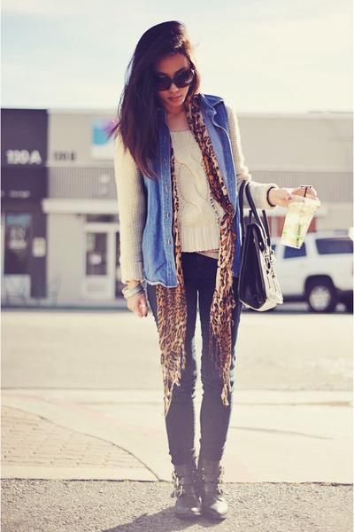 denim vintage vest - zippered Dolce Vita boots - Forever 21 jeans