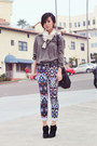 vintage blouse - Jeffrey Campbell boots - printed Zara scarf