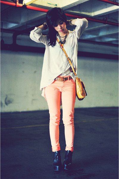 button-up laced H&amp;M blouse - Nine West bag - skinny H&amp;M pants