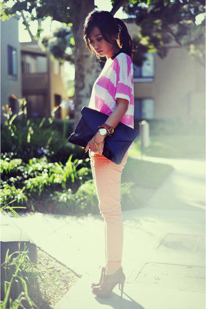 bubble gum striped crop H&amp;M top - Forever 21 boots - envelop clutch VJ Style bag