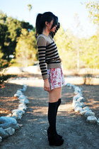 brown striped Forever 21 sweater - light pink Kimchi Blue dress