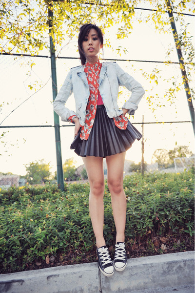 denim blue Zara jacket - black pleated black H&M skirt - romwe blouse