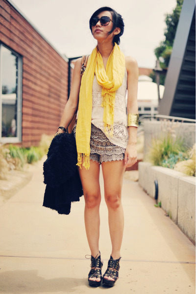 lace-up sandal Forever 21 shoes - light yellow vintage scarf - laced Exstaza sho