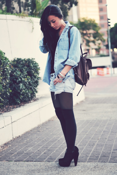 thigh-high Forever 21 socks - sky blue oversized denim vintage jacket