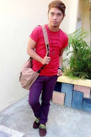 red top - purple Accessorize pants - crimson necklace - light blue bracelet