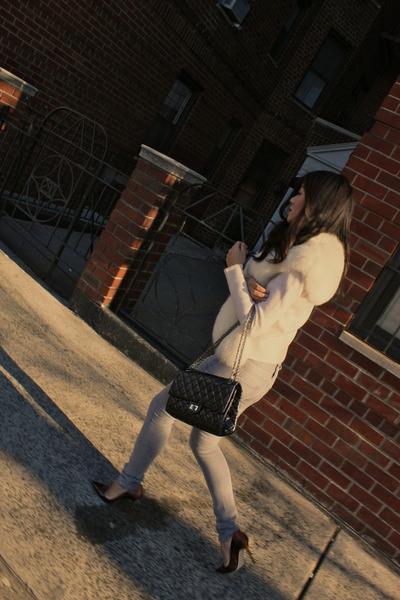 Dana Buchman sweater - Chanel purse - Jimmy Choo pumps