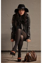 vintage shoes - Alexander Wang dress - wool Barbour hat - Moda jacket
