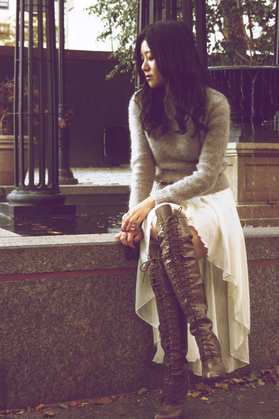 Joie boots - vintage sweater - LF stores skirt - tan Hermes belt