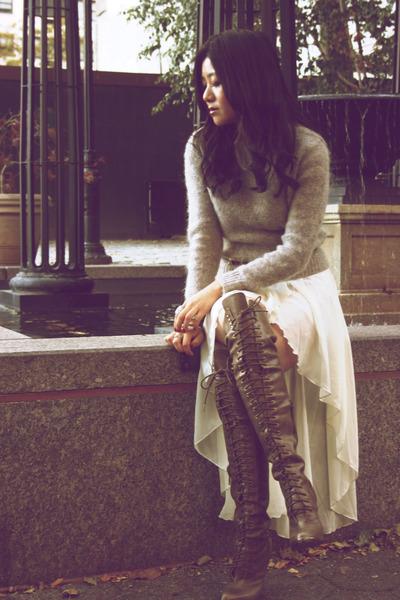 Joie boots - vintage sweater - LF stores skirt - tan Hermes belt