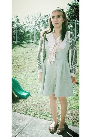 grey quilted rosebowl skirt - light peach Allegra K blouse