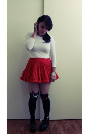 totoro stockings - spiked platform shoes - white sweater - red petticoat skirt