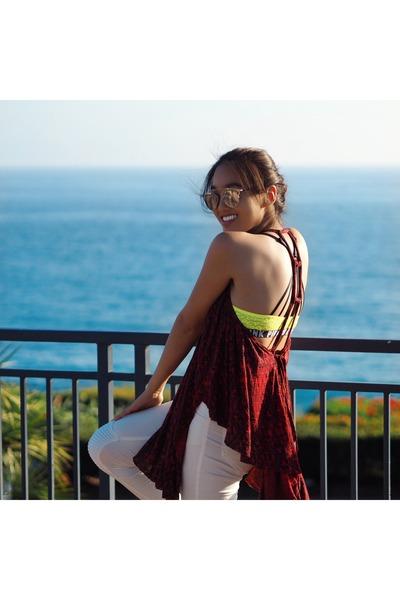 dior sunglasses - Zara pants - backless flowy free people top