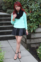 black leather American Apparel skirt - aquamarine knit H&M sweater