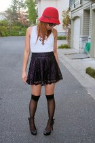 purple lace Forever 21 skirt - black jeweliq necklace