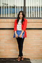 red donna karan blazer - blue asos bag - beige ruffled top Forever 21 top