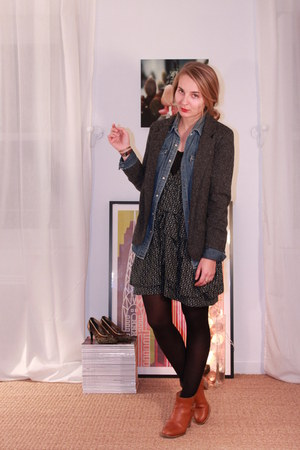 COS boots - Isabel Marant dress - Silence & Noise jacket - Ralph Lauren shirt