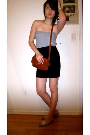 black H&M skirt - silver from Korea t-shirt - white Manolo Blahnik shoes - brown
