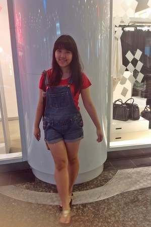 dungaree cotton on jeans - red Mango top