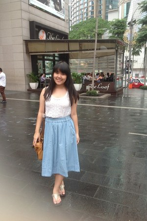denim ColorBox skirt - Charles & Keith bag - FitFlop sandals