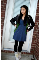 brown Forever 21 jacket - green Nordstroms jacket - blue Urban Outfitters dress