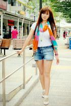 orange candy stripes Forever 21 scarf - navy denim Zara shorts