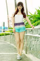 purple ombre denim Vanilla Breeze Clothing shorts - white basic Zara top