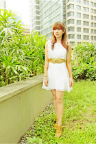 white lace Zara dress - mustard leather Bayo belt