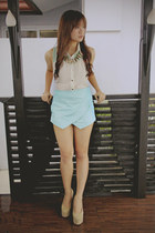 aquamarine origami skort apartment 8 shorts - tan velvet apartment 8 wedges