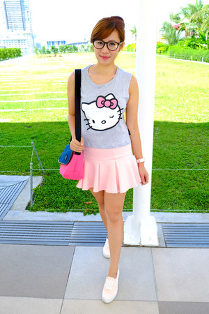 heather gray cotton on top - light pink fit and flare apartment 8 skirt