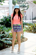 coral neon coral tee abercrombie and fitch top - navy Topshop shorts