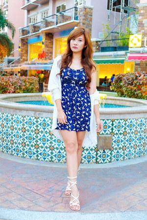 navy dove print Zara dress - white oversized cotton on cardigan