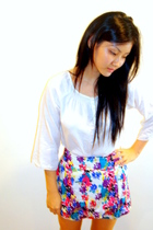 white accessories - purple skirt