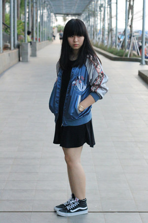 navy unbranded jacket - black cotton on dress - black Vans sneakers