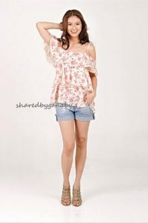 light blue maong shorts - bubble gum floral print blouse - camel heels