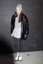 silver American Apparel hat - white Dr Martens boots