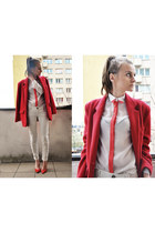 carrot orange leather heels Zara heels - red vintage no name blazer