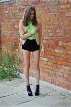 chartreuse spiked collar Never Enough shirt - black Jeffrey Campbell boots