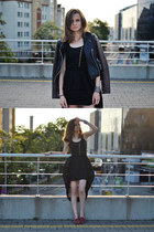 dark brown leather Topshop jacket - black Never Enough skirt